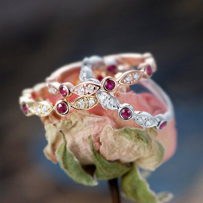 Fashion 925 Silver,Rose Gold,Gold Wedding Rings for Women Ruby Ring Size 6-10