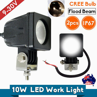 2x 10W Square Cree LED Work Light Off-Road Car & Truck Vehicles Flood Beam Lamp