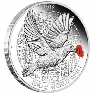 2018 END OF WORLD WAR 1 ANNIVERSARY 100th Silver Proof Coin