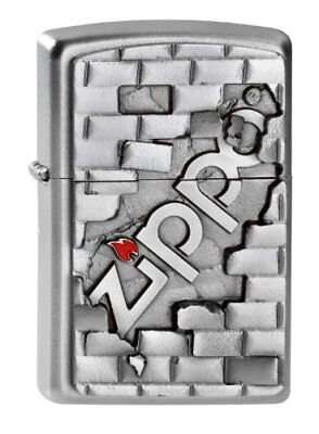 Zippo Wall Emblem Windproof Pocket Lighter - Chrome