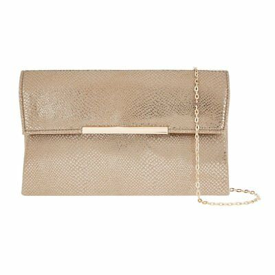 Accessorize Monsoon Fiona Snake Shimmer Gold Clutch Bag Evening Party New