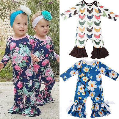US Newborn Baby Girl Xmas Flower Ruffle Romper Bodysuit Jumpsuit Outfits Clothes