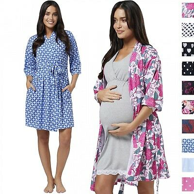 Happy Mama Women's Maternity Nursing Printed Labour Dressing Gown Robe 629p