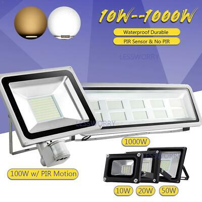 LED Floodlight 10/20/30/50/100W with or without PIR Security Lights Warm Cool UK