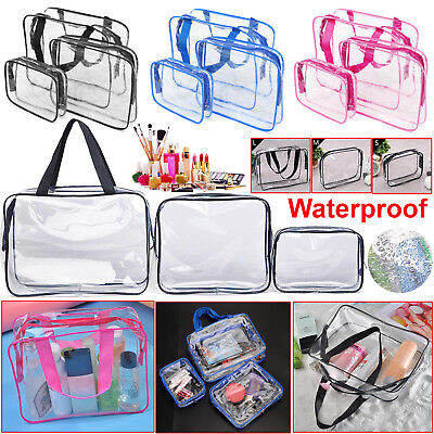 Set of 3Pcs Cosmetic Makeup Toiletry Clear PVC Travel Wash Holder Pouch Bag Kit