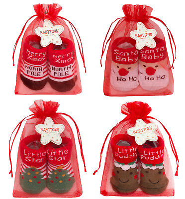 Novelty Baby Christmas Socks Cute Newborn Babies Soft Shoes Santa Xmas Gift Size
