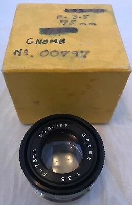 Rare Vintage Gnome Photographic Enlarger Lens, 1:3.5 f=75mm Perfect Condition