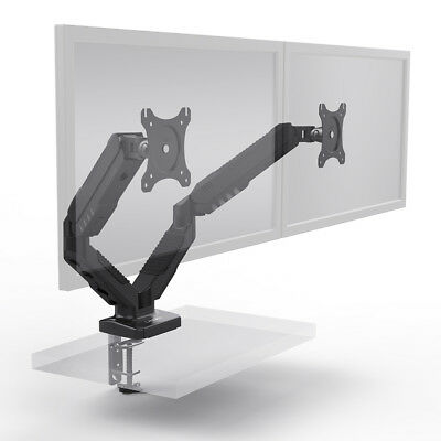 Dual monitor stand Gas Spring 2 arm holds two screen TV LCD desk mount bracket