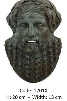 Ancient Greek Mask Of God Of Wine Dionysus, Bronze Museum Replica