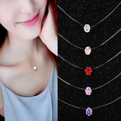 Fashion Crystal Necklace Invisible Line Zircon Clavicle Chain Women Charm Gift