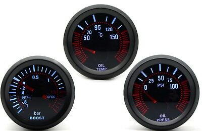 52mm AGG-1 Smoked Turbo Boost Bar + Oil Temp + Oil Pressure 3 Gauge Kit