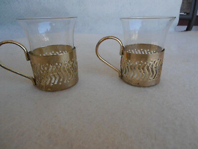 Beautiful Gold Tone  Cup Holders with Glass Inserts