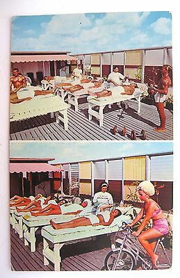 Miami Beach FL MCM Postcard The CASTAWAYS Health Club Exercising 1960's Unused