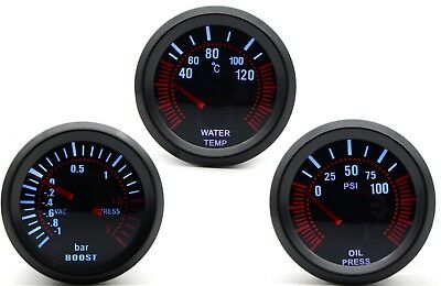 52mm AGG-1 Smoked Turbo Boost Bar + Water Temp + Oil Pressure 3 Gauge Kit