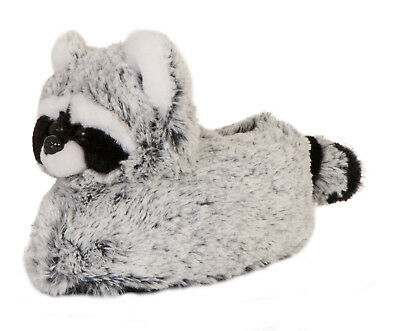 Womens Novelty 3D Racoon Slippers Character Booties Plush Animal Mules Size