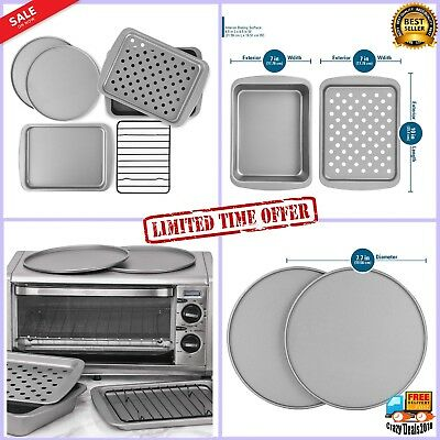 Non-Stick 6-Piece Steel Toaster Oven Baking Pan Set Bakeware roasts and cookies