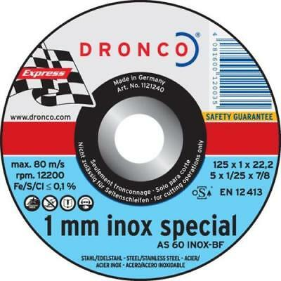 50 x DRONCO 1 mm Inox Special Metal Cutting 125mm Discs Stainless Stee  DCD52Bx2