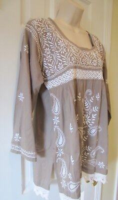 Mexican Brown With White Embroidery Peasant Tunic Top Long Sleeves Shirt Size M