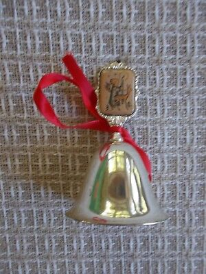 "Dated 1989 Limited edition Hummel silver bell, angel with deer 3 1/2"" high"