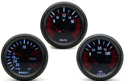 52mm AGG-1 Smoked Turbo Boost 30 Psi + Oil Pressure + Volt 3 Gauge Kit