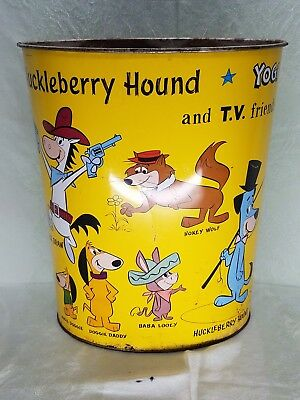 Hanna Barbera Metal Trash Can- Huckleberry Hound, Yogi Bear &  TV Friends