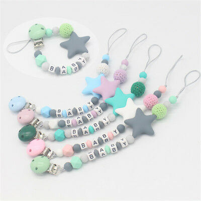 Name Silicone  DIY Soother Dummy Clips Baby Teething Pacifier Chain