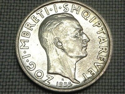 Albania Kingdom 1935 R silver 1 Frang Franc King Zog I Crowned Double Head Eagle