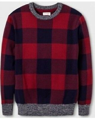 Boys' Buffalo Check Pullover Sweater - Cat & Jack Red S 6/7 NWT