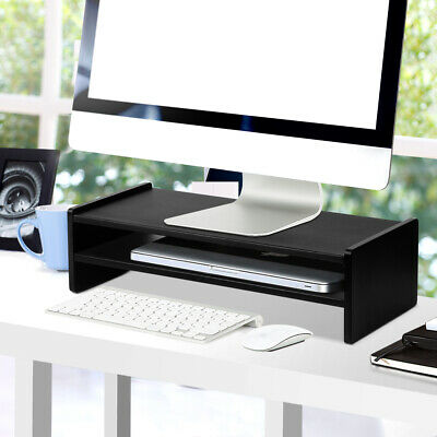 Computer Desktop LED LCD Monitor Riser Laptop TV Stand 2 Tier Shelf Table Top