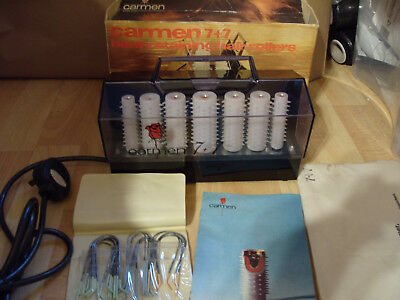 Vintage Set Carmen 7+7 Heated Hair Rollers Made in Denmark Boxed -232