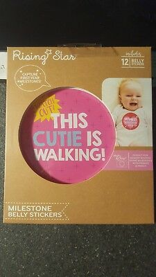 New Rising Star Milestone Photo Prop Belly Stickers Set, Baby Girls, Age 0-12M