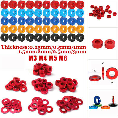 10/100PCS M3 M4 M5 M6 Round CNC Aluminum Alloy Flat Spacer Washers Gasket Ring
