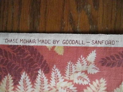 Antique Victorian Chase Mohair Sleigh Buggy Material GOODALL SANFORD Red Gold
