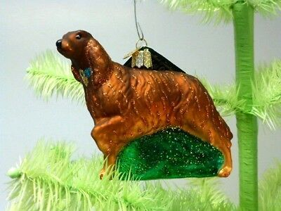 IRISH SETTER Old World Christmas Glass Ornament, With Glitter, New With Tag