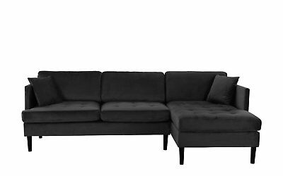 Pleasing Mid Century Modern Tufted Velvet Sectional Sofa Classic L Inzonedesignstudio Interior Chair Design Inzonedesignstudiocom