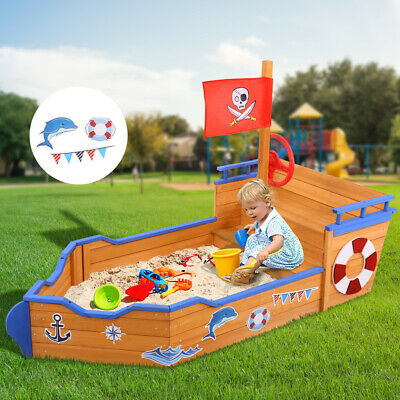 Children Toys Wooden Boat Sand Pit Kids Outdoor Garden Play Sandpit Box Toy