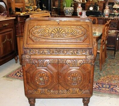 Exquisite Antique Art Deco Tiger Oak Drop Front Desk with Carvings and Chair