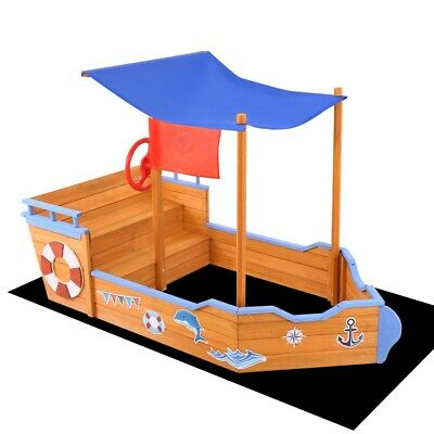 Kids Children Xmas Gift Boat Sand Pit Outdoor Wooden Sandpit Box Toy w/ Canopy