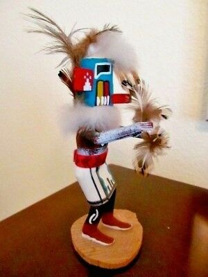 "Vintage Signed Navajo Kachina Doll ""EARLY MORNING"" Feather Dancer-Signed E/B-EUC"