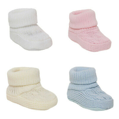 Baby Boys Girls Bootees 1 Pair Knitted Plain Booties Born-3 Months Approx 1118