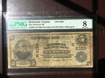 $5 1902 PMG 8 Very Good The American Nation Bank-Richmond, Virginia