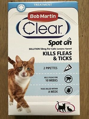Bob Martin Clear Spot On Treatment -Cats for Fleas, Ticks.
