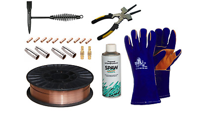 Welding set MIG Wire, Gas nozzle, Contact tip, Tip holder, Hammer, Spray, Gloves