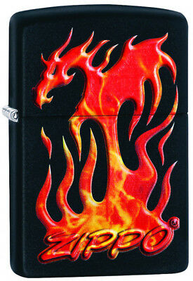 "Zippo Lighter ""3D Flaming Dragon"" No 29735 - New on black matte finish"