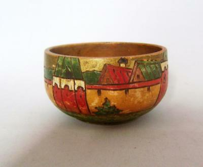Rare Antique Painted Turned Wooden Bowl / Cup: Folk Art: Vibrant Colours