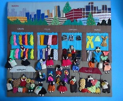 Vintage Arpillera Peruvian Folk Art 3D Tapestry Fabric Yarn Patchwork Wall Hang
