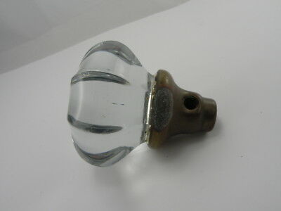"""Antique Vintage 8 Point Crystal Clear Glass Brass Door Knob Handle 2 1/4"""" wide"""