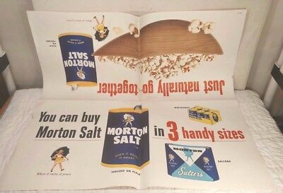Authentic Vintage 1957 Morton Salt Advertising Grocery Store Display Sign Poster