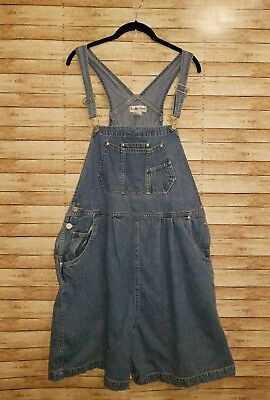 In Due Time Maternity Size XL Overalls Shorts Denim Blue