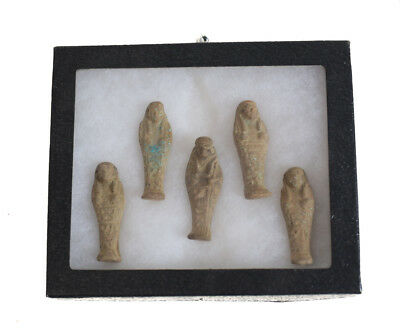 A group of 5 Archaic Egyptian Faience Pottery Shabti figures, Late Period?